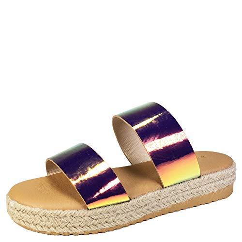 (BAMBOO Women's Two-Band Espadrilles Platform Slide Sandal, Iridescent Patent PU, 9.0 B (M) US )