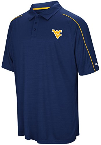 West Virginia Mountaineers Mens Blue Setter Synthetic Poly Polo Shirt (Medium) (Men Basketball West Mountaineers Virginia)