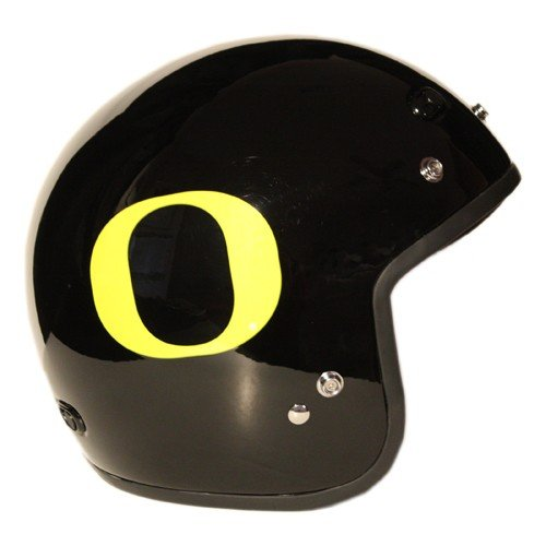 Motorcycle Helmet – University of Oregon Ducks – Three Quarter Shell DOT approved Limited Edition Merchandise – Officially Licensed Collegiate Custom Logo Helmets – College Biker Scooter Riding Gear - One of a kind UO product – WTD and Ride with U of O Duck Pride by FanRider - Large