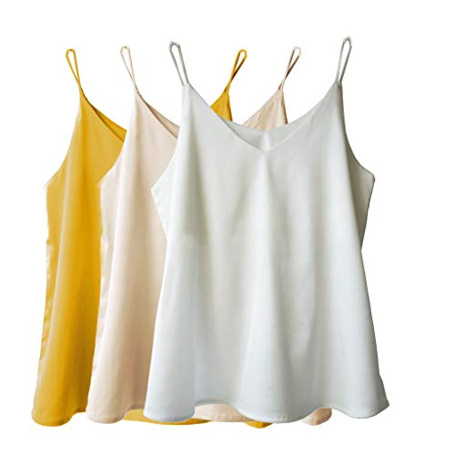 Wantschun Womens Silk Satin Camisole Cami Plain Strappy Vest Top T-Shirt Blouse Tank Shirt V-Neck Spaghetti Strap US Size XL;Yellow+Champagne+White