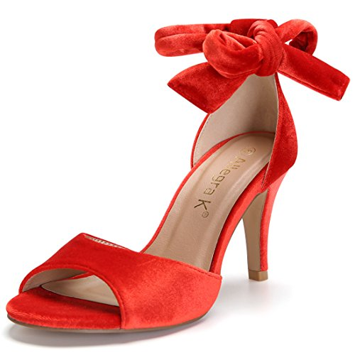 Allegra K Damen Schnürhalbschuhe Orange Red