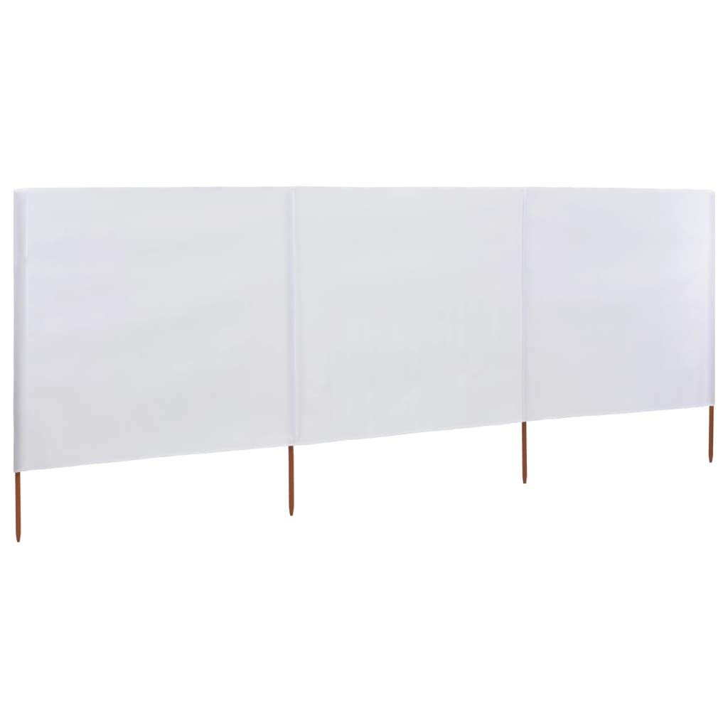 Galapara 3-panel Wind Screen Camping Windbreaker Privacy Shelter Sun Shade Panel Fabric 400x120 cm White