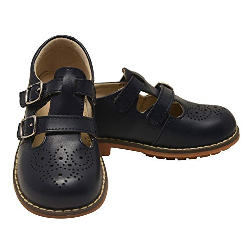 L`Amour Unisex Navy Double T-Strap Buckled Leather Mary Jane Shoes 13 Kids