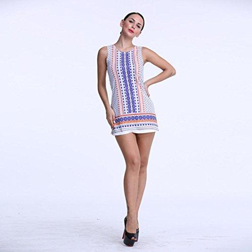DOLDOA Mujeres sin mangas de impresión Partido Cocktail Beach Sundress Mini vestido corto Púrpura