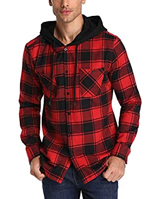 TIESOME Plaid Shirts for Men Checked Long Sleeve Button Down Hooded Shirt
