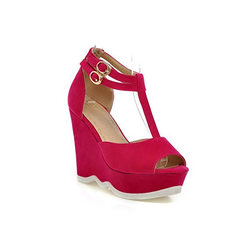 Balamasa Womens Double Breasted Peep-toe Frosted Sandalen Rosered