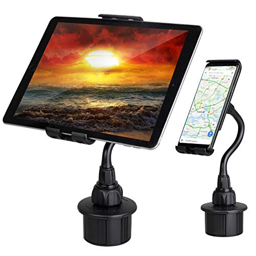 Linkstyle 2 in 1 Car Cup Holder Tablet Mount, Cup Holder Phone Mount for iPad Pro 10.5 9.7/ iPad Air/iPad Mini 4 3 2/ Samsung Galaxy Tab Active 2 A2 S4 S3/iPhone Xs Max XR X 8 Plus (All 4.7