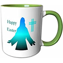 3dRose Florene Holiday - Image of Happy Easter With Turquoise Silhouette Of Jesus - 11oz Two-Tone Green Mug (mug_235427_7)