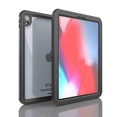 iPad Pro 11 Waterproof Case(2018), iThrough IP68 Underwater Case for iPad Pro 11,Heavy Duty Shock Drop Rain Snow Dust Proof Protective Case Slim Cover for All-New iPad Pro 11 with Lanyard (Black)