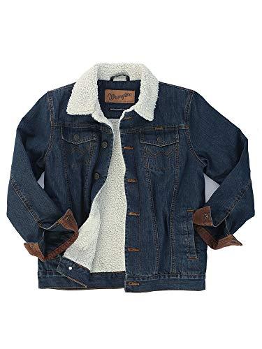 Wrangler Boys' Lined Denim Jacket, Rustic Blue/ Sherpa, L