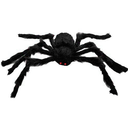 XONOR 4.9ft Long Plush Spider for Halloween Decoration (Spider Black) -
