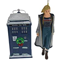 Hickoryville Doctor Who 13th Doctor & Tardis with Christmas Wreath 2 Piece Ornament Bundle