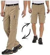 Mens Hiking Fishing Pants, Lightweight Quick Dry Zip Off UPF 50+ Outdoor Travel Safari Pants