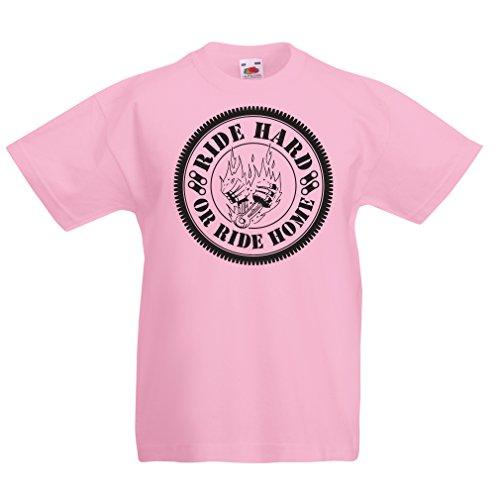 lepni.me Camisas para ninos Ride Hard! Biker Clothing (14-15 Years Rosado Multicolor)