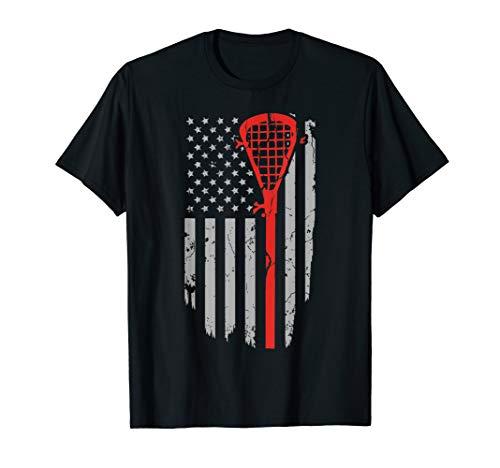 Vintage American Flag Lacrosse Youth Apparel, Boys Men USA T-Shirt