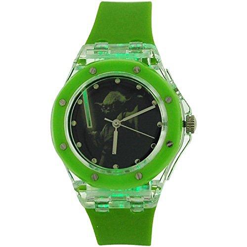 Star Wars Boys Analogue, Yoda Flashing Lights Green Rubber Strap Watch (Yoda Watch)