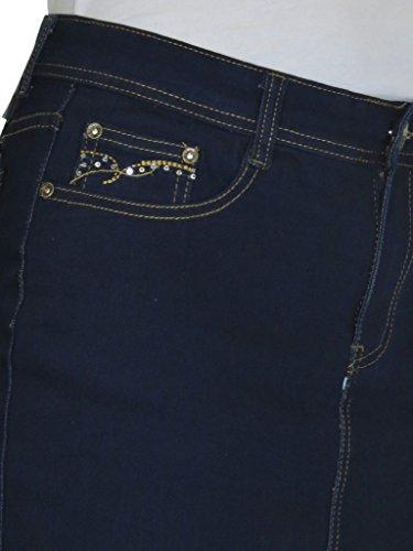 en Bleu 2 Paillette Jupe Ice Paillettes Jeans Point et avec Poche Indigo tirement de Denim Mini CtwPwpZq