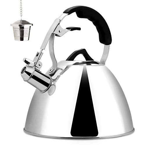 Cheap Secura Tea Kettle 3.2 Quart Tea Pot, Stainless Steel Hot Water Kettle Whistling with Mirror Finish, Silicone Handle, Impact-bonded Technology, Tea Infuser for Stovetops secura tea kettle