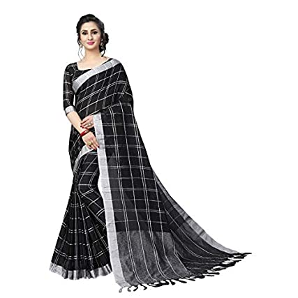 Best Perfectblue Women's Linen Saree With Blouse Piece in india 2020