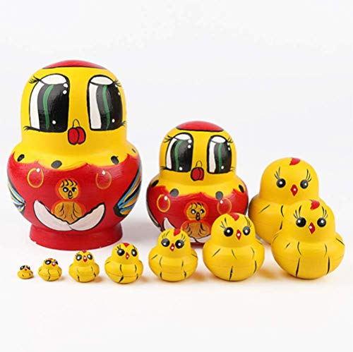 YWT 10Pcs Chick Russian Nesting Doll Toy Children Handmade Toys Christmas Mother's Day Birthday Home Decoration Wooden Gift Crafts]()