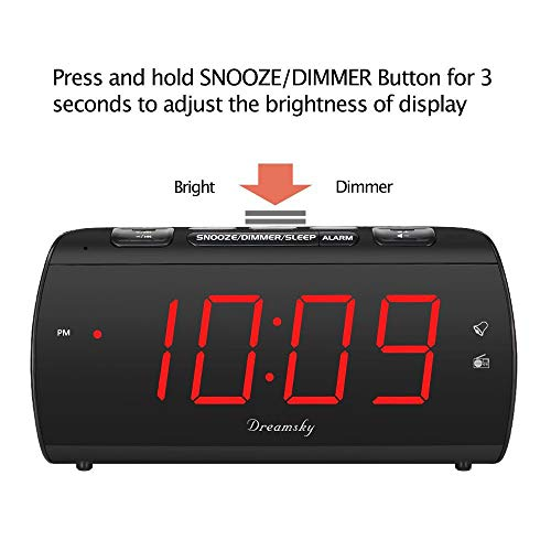 DreamSky Digital Alarm Clock Radio with USB Charging Port and FM Radios, Earphone Jack, Large 1.8 LED Display with Dimmer, Snooze, Sleep Timer, Plug in Clock for Bedroom.