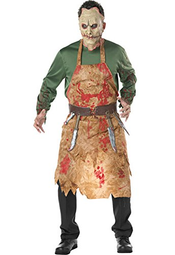 Halloween Bloody Butcher Costume Zombie Suit Corpse Cosplay Mischief Suit with Apron -