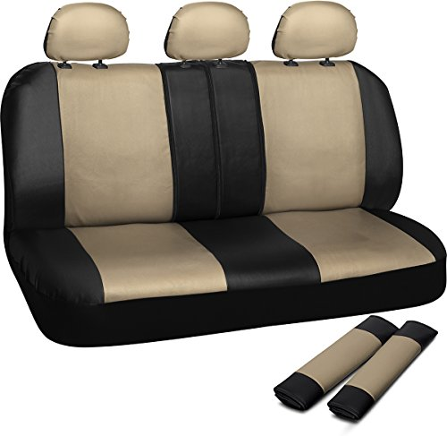 OxGord Leatherette Bench Seat Covers Universal Fit for Car, Truck, SUV, Van - Tan (Best Lacrosse Shoulder Pads 2019)