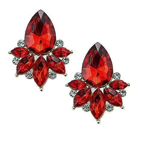 - Art Deco Antique Vintage Style Scarlet Ruby Red Rhinestone Bridal Bridesmaid Wedding Prom Cluster Earrings