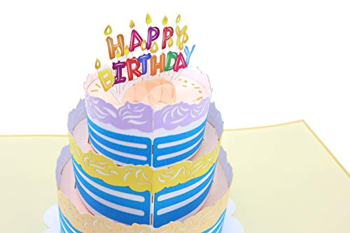Hill Cake - PopLife Happy Birthday Card - 3D Colorful Cake Pop Up Birthday Card - HBD Candles - Fold Flat for Mailing - Gift for Grandkids, Grandma, Over the Hill, Three-tier Cake, Surprise Party, Small Gift