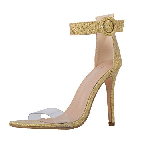 (JSUN7 Women's High Heels Stilettos Pumps One Band Open Toe Sandal with Buckle Ankle Strap Office Shoes)