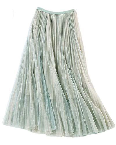 - Ninmon Shares Women A-line Skirt Basic Elastic Waist Casual Lace Mesh Skirt (C3)