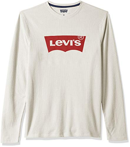 Levi's Men's Covington2 Thermal Knit Shirt, oatmeal heather/fashion wing, Large