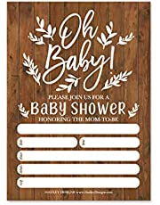 25 Rustic Baby Shower Invitations, Sprinkle Oh Baby Invite for Boy or Girl, Coed Gender Reveal Neutral Theme, Cute Boho Floral Printed Fill or Write in Blank Printable Card, Party DIY Paper Supplies