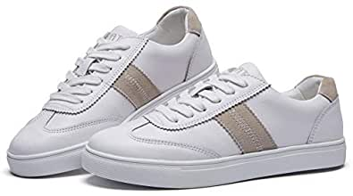 BOYATU Leather Flat Sneakers for Women Trainers Shoes Fashion Walking Sneakers White White Size: 5.5