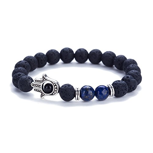 XAvoe Fashion Yoga 7 Chakra Crystal Beads Hamsa Hand Charm Healing Lapis lazuli Stone Bracelets for Women and Men (Lapis (Evil Eye Beaded Bracelet)
