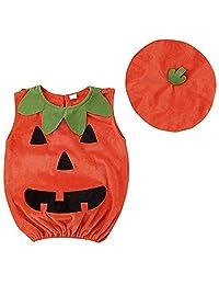TOBABYFAT Baby Boy Girl Halloween Costumes Newborn Outfit Pumpkin Bodysuit+Hat