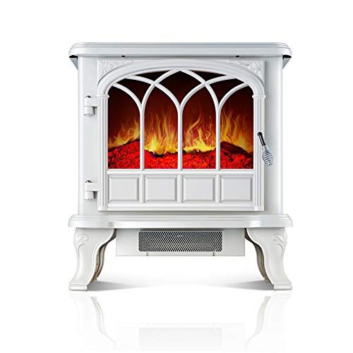 Electric heater Heater for home- Retro simulation fireplace Stand-alone Compact Stove/1000 W And 2000 W Settings/White