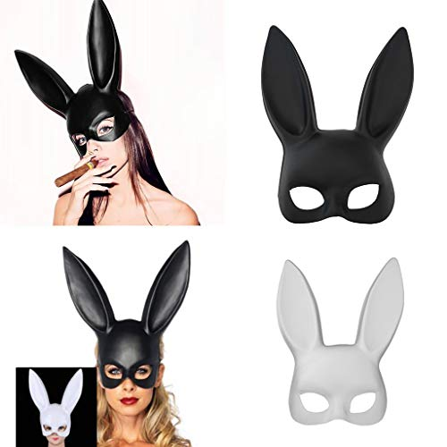 Hacloser Bunny Mask Sexy Adult Masquerade Black for Girl Rabbit Long Ears Half Face Mask Halloween Party Cosplay (Black) -