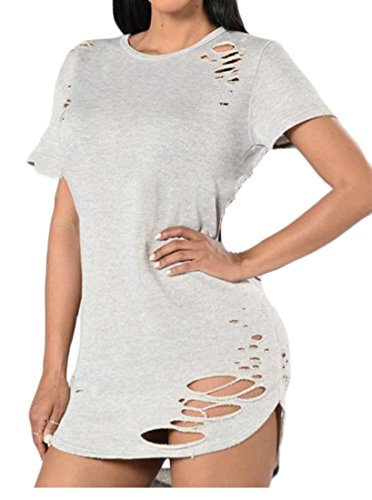 Neck Mini Women's Cromoncent Solid Sleeve White Bodycon Color Summer Dresses Round Short Hole Broken UzZFq