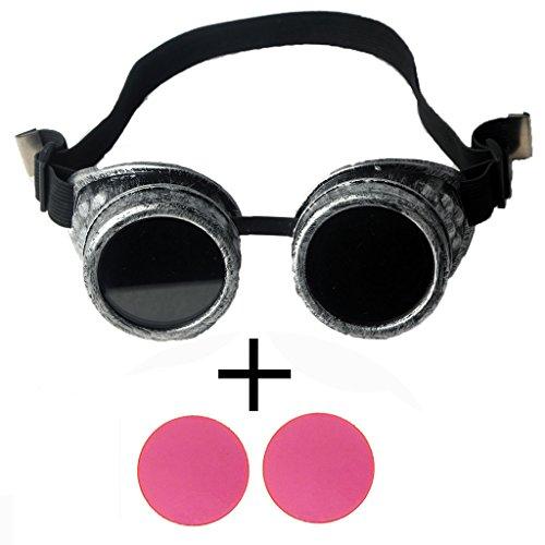 OMG_Shop Steampunk Victorian Goggles welding Glasses diesel punk Old Sliver Frame-Old Sliver Frame & Pink - Welding Goggle Sunglasses