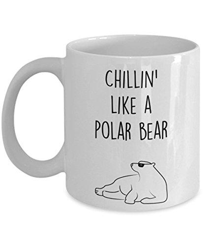 (Polar Bear Mug - Coffee Cup - Chillin' like a Polar Bear - Polar Bear Gag Gift Basket Ideas)