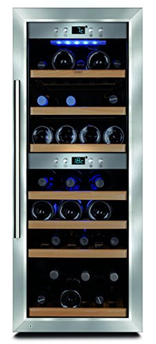 CASO WineMaster 38 Design Weinkühlschrank für bis zu 38 Flaschen (bis zu 310 mm Höhe), zwei Temperaturzonen 5-22°C, Energieklasse A