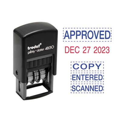 - Economy 5-in-1 Micro Date Stamp, Self-Inking, 3/4 x 1, Blue/Red