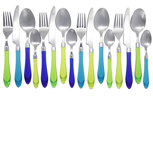 - Unique Brilliant Colored Mix & Match Cutlery Set and Eating Utensils with Translucent Handles set of 16 pieces, Crystal Sea Green Blue Cutlery Assortment