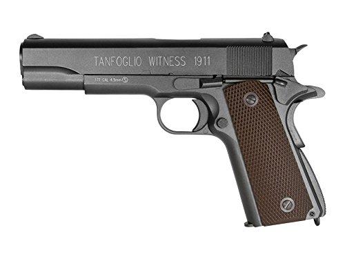 Tanfoglio Witness 1911 Full Metal C02 Blowback Air Pistol, Black/Brown, 4.5mm (358003)
