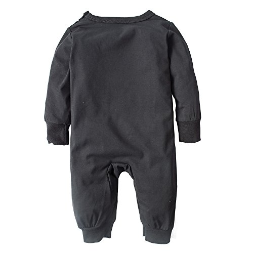 Big Elephant Baby Boys' One Piece Graphic Long Sleeve Pajama Romper Sleeper Black H97