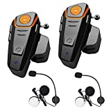 HuanGou Helmet Bluetooth Headset, BT-S2 Motorcycle Bluetooth Intercom Headset up to 3 Riders 1000M Bluetooth Helmet Headphones Speakers Communication Systems Ski Walkie-Talkie for Snowmobile (2 Pack)