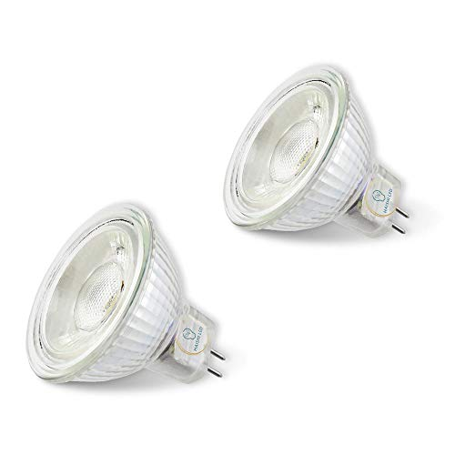 MR16 LED Bulbs, 6000K Daylight, 5W(50W Halogen Equivalent), DC/AC12V, 2-Pack (6000K, GU5.3)