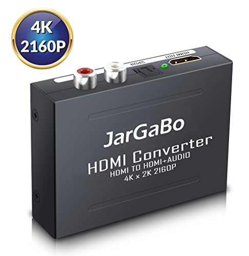 HDMI Audio Extractor, JarGaBo 4K 2160P HDMI Audio Splitter, HDMI to HDMI+Optical Toslink (SPDIF) + RCA (L/R) Audio Converter Adapter, V1.4, Black ()