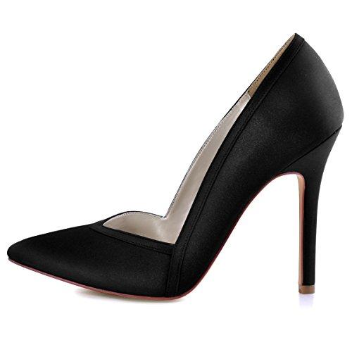 ElegantPark HC1603 Women's Pointed Toe High Heel V Cut Slip on Satin Dress Pumps Black US 7 by ElegantPark (Image #1)